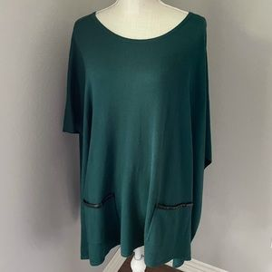 Talbots Forrest Green Poncho/Faux Leather Trim